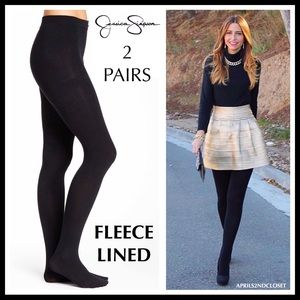 2 BLACK FLEECE LINED TIGHTS A2C